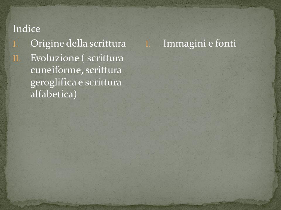 Indice Origine della scrittura. Evoluzione ( scrittura cuneiforme, scrittura geroglifica e scrittura alfabetica)