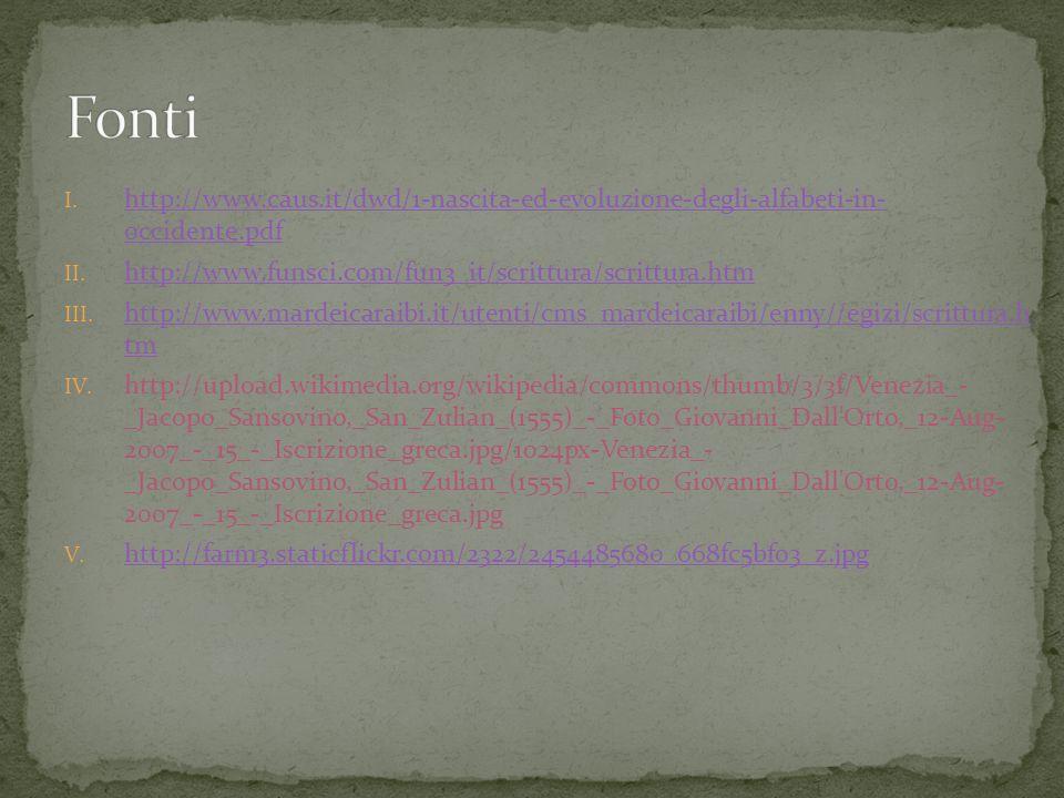 Fonti http://www.caus.it/dwd/1-nascita-ed-evoluzione-degli-alfabeti-in- occidente.pdf. http://www.funsci.com/fun3_it/scrittura/scrittura.htm.