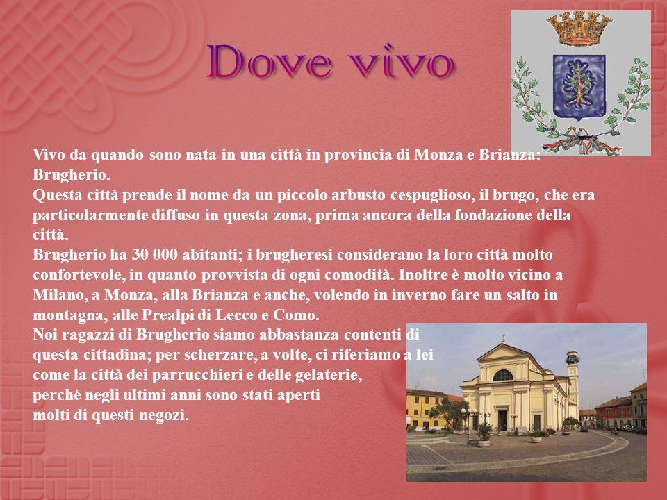 Dove vivo Vivo da quando sono nata in una città in provincia di Monza e Brianza: Brugherio.