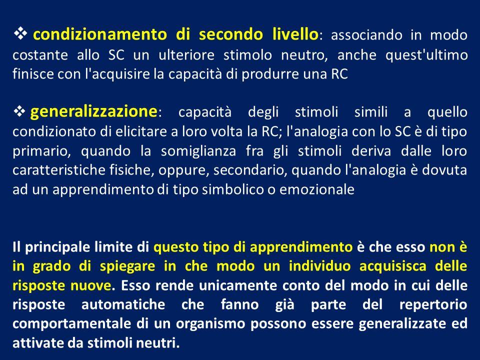 condizionamento di secondo livello: associando in modo costante allo SC un ulteriore stimolo neutro, anche quest ultimo finisce con l acquisire la capacità di produrre una RC