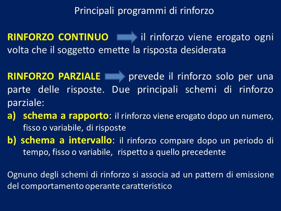 Principali programmi di rinforzo