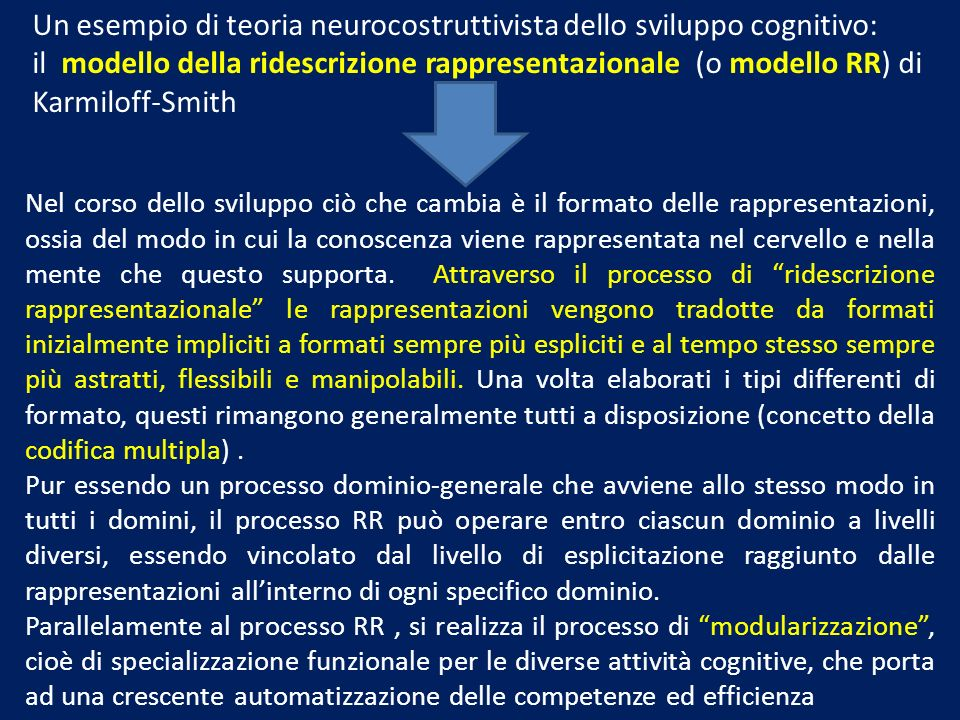 Un esempio di teoria neurocostruttivista dello sviluppo cognitivo: