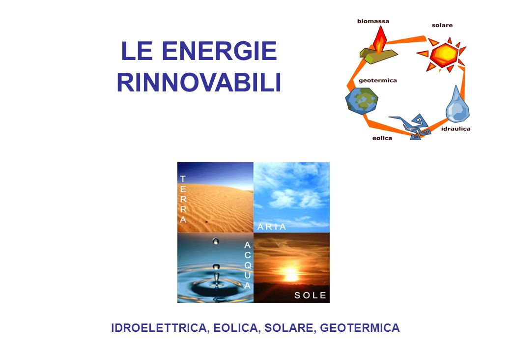 LE ENERGIE RINNOVABILI IDROELETTRICA, EOLICA, SOLARE, GEOTERMICA