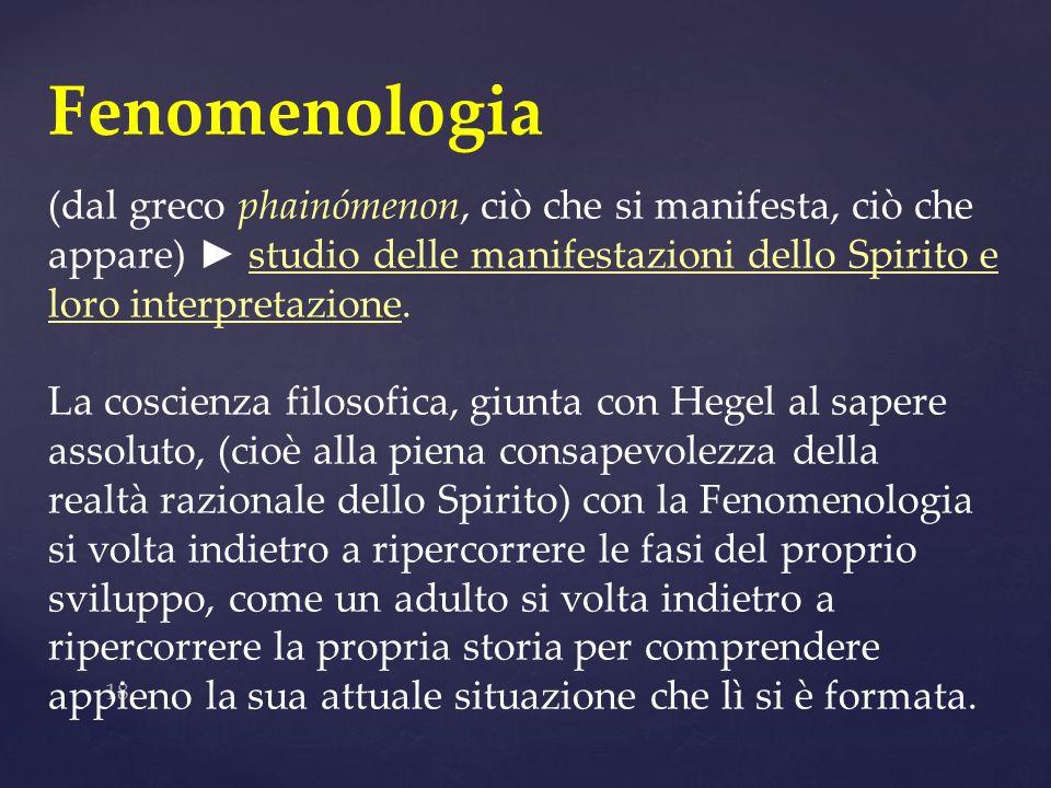 Fenomenologia (dal greco phainómenon, ciò che si manifesta, ciò che appare) ► studio delle manifestazioni dello Spirito e loro interpretazione.