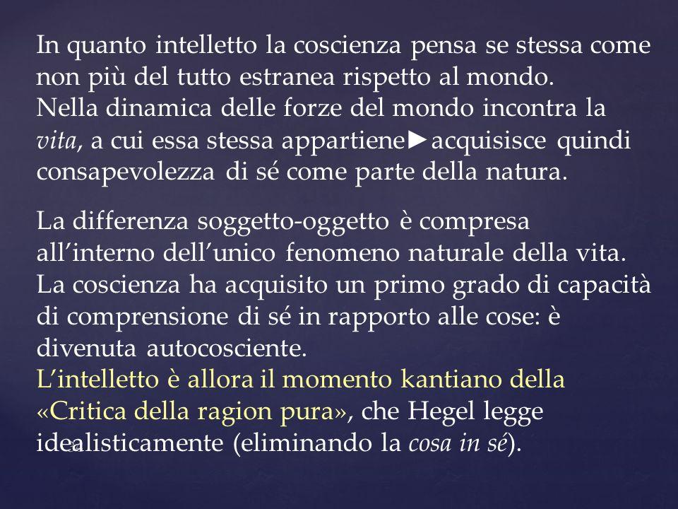 In quanto intelletto la coscienza pensa se stessa come non più del tutto estranea rispetto al mondo.