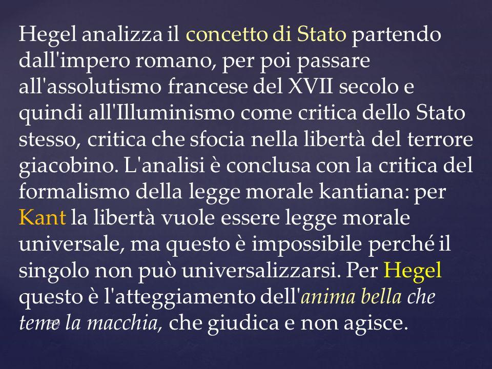 Hegel analizza il concetto di Stato partendo dall impero romano, per poi passare all assolutismo francese del XVII secolo e quindi all Illuminismo come critica dello Stato stesso, critica che sfocia nella libertà del terrore giacobino.