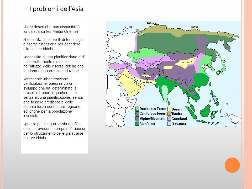 I problemi dell'Asia aree desertiche con disponibilità idrica scarsa (es Medio Oriente)