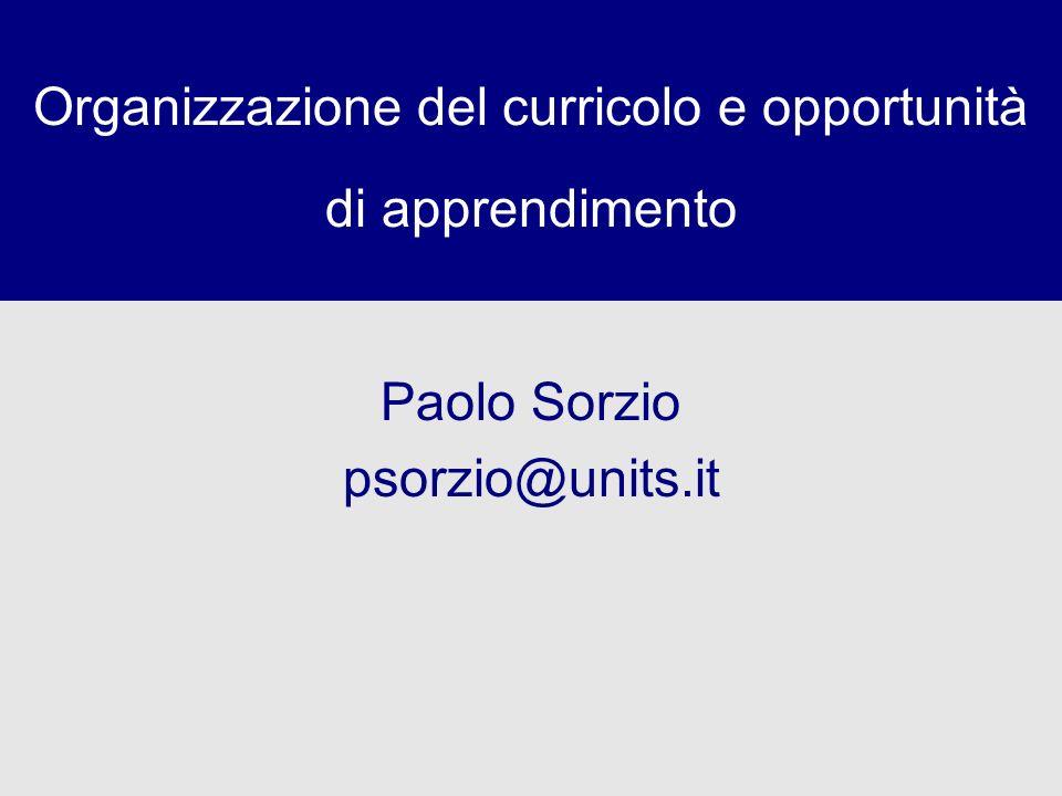 Organizzazione del curricolo e opportunità di apprendimento