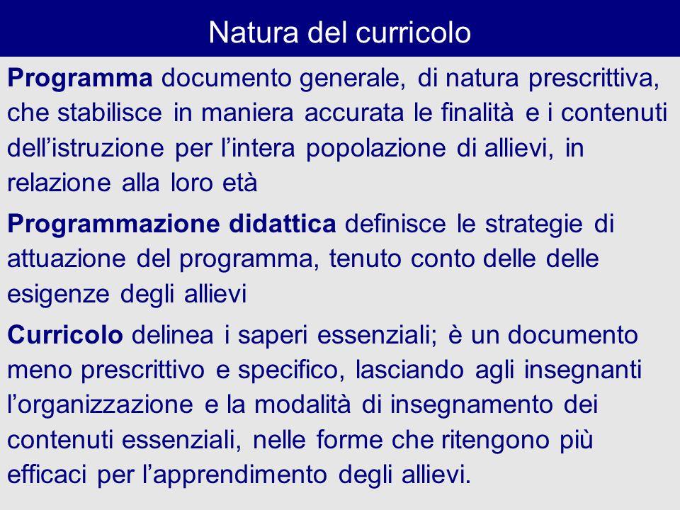 Natura del curricolo