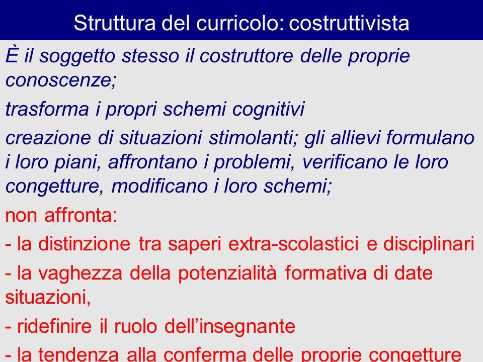 Struttura del curricolo: costruttivista