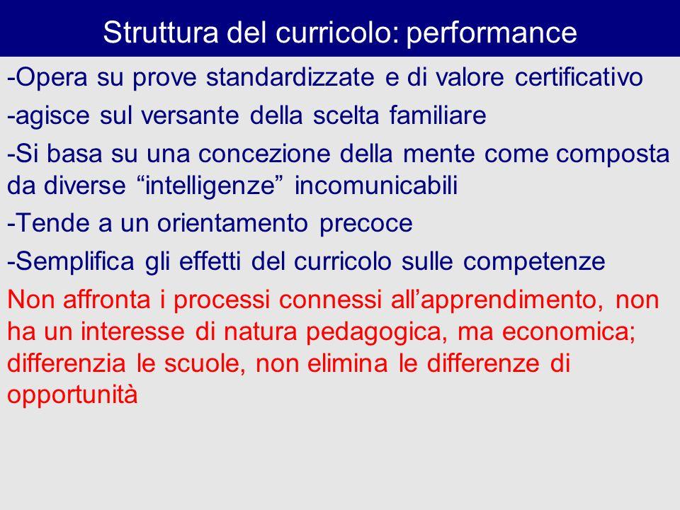 Struttura del curricolo: performance