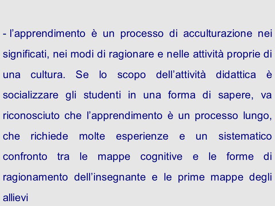 l'apprendimento è un processo di acculturazione nei significati, nei modi di ragionare e nelle attività proprie di una cultura.