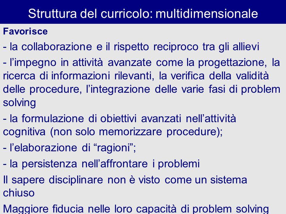 Struttura del curricolo: multidimensionale