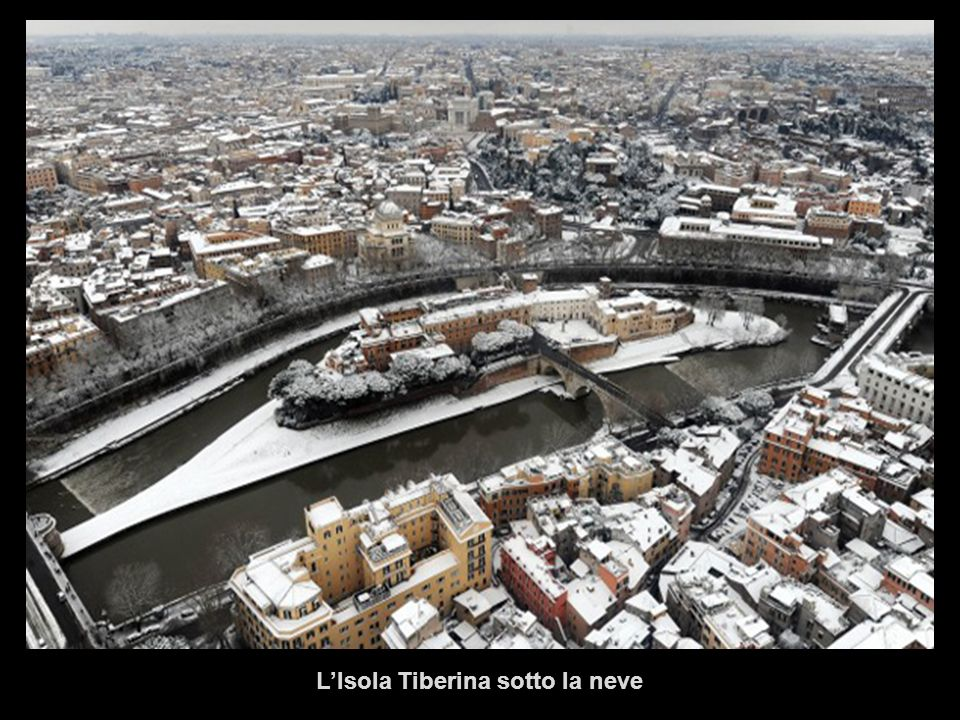 L'Isola Tiberina sotto la neve