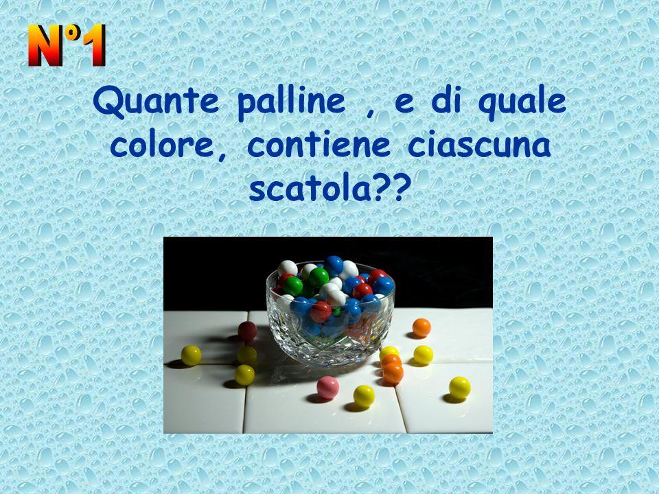 Quante palline , e di quale colore, contiene ciascuna scatola