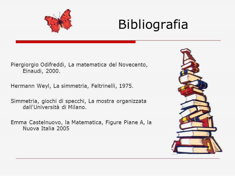 Bibliografia Piergiorgio Odifreddi, La matematica del Novecento, Einaudi, 2000. Hermann Weyl, La simmetria, Feltrinelli, 1975.