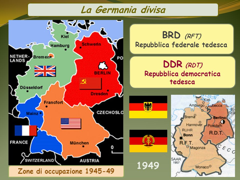 BRD (RFT) Repubblica federale tedesca Repubblica democratica tedesca