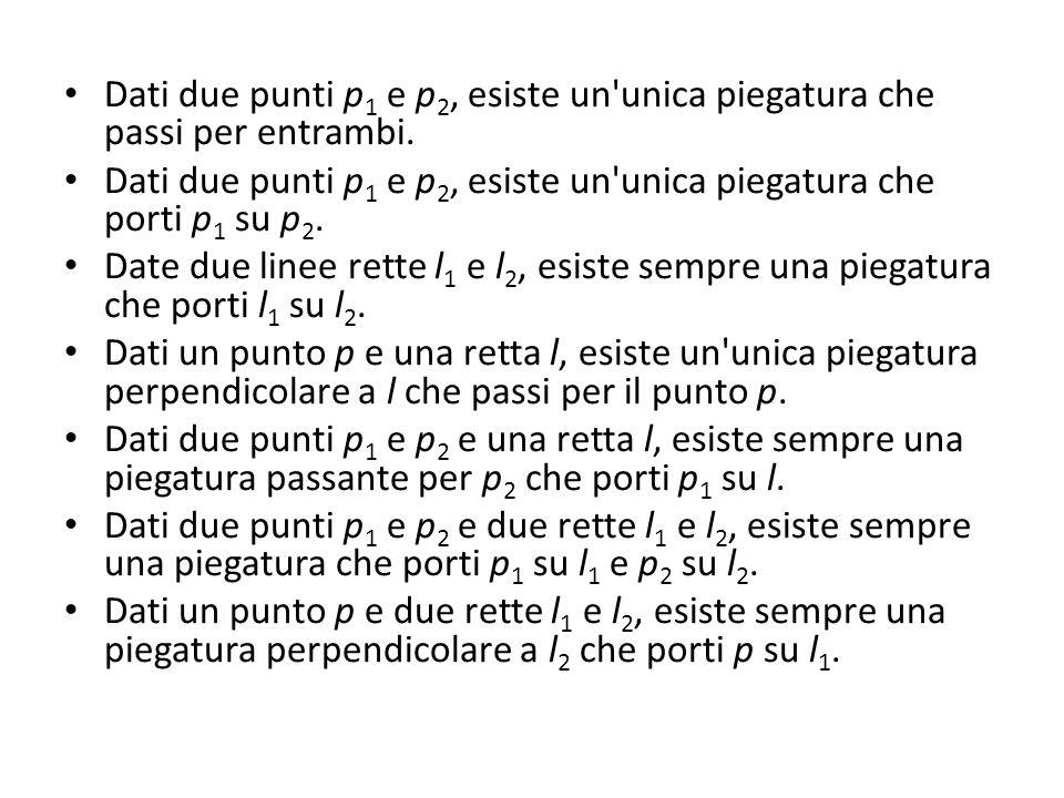 Dati due punti p1 e p2, esiste un unica piegatura che passi per entrambi.
