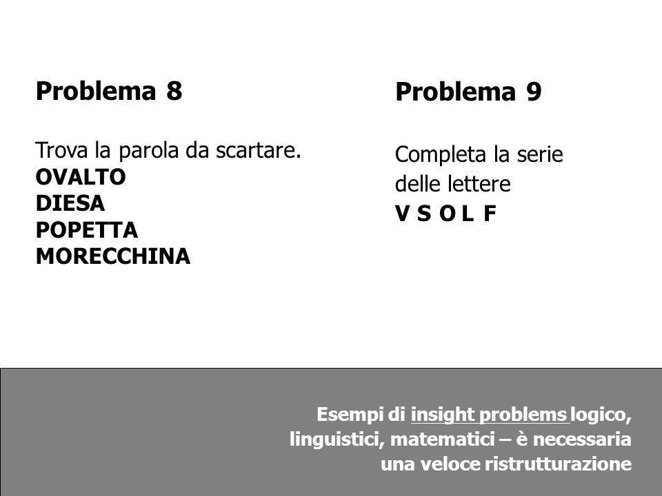 Problema 8 Problema 9 Trova la parola da scartare.