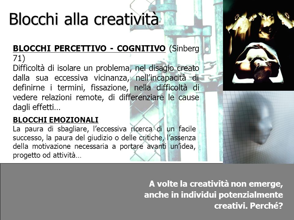 Blocchi alla creatività