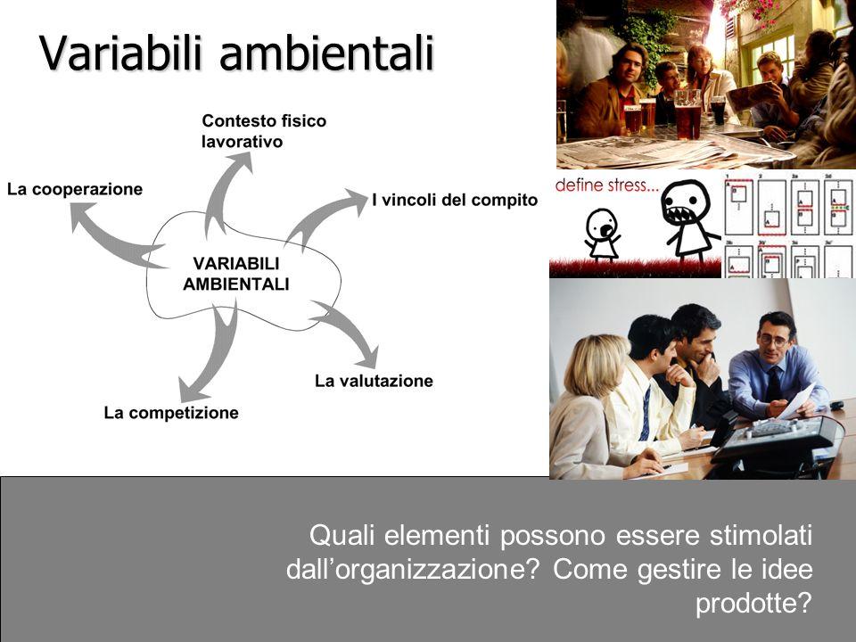 Variabili ambientali Quali elementi possono essere stimolati dall'organizzazione.