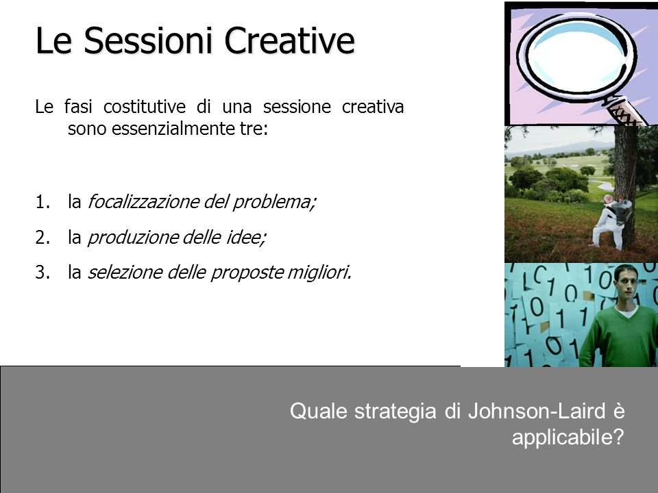 Le Sessioni Creative Quale strategia di Johnson-Laird è applicabile