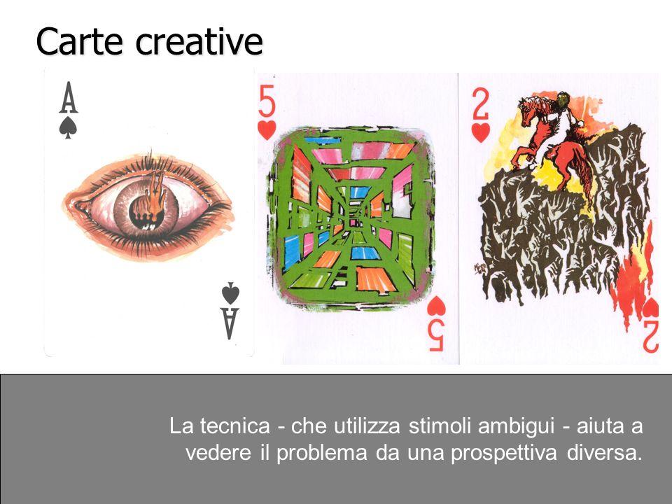 Carte creative La tecnica - che utilizza stimoli ambigui - aiuta a vedere il problema da una prospettiva diversa.