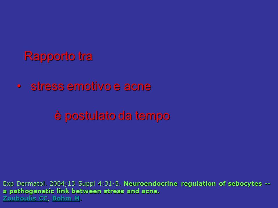 Rapporto tra stress emotivo e acne è postulato da tempo