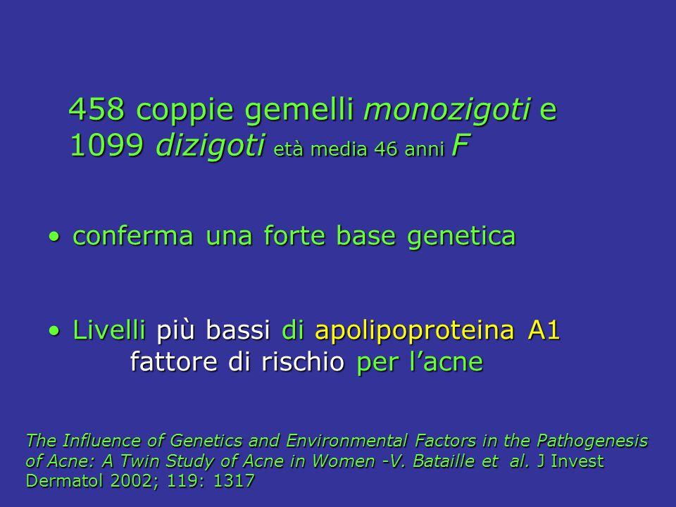 458 coppie gemelli monozigoti e 1099 dizigoti età media 46 anni F