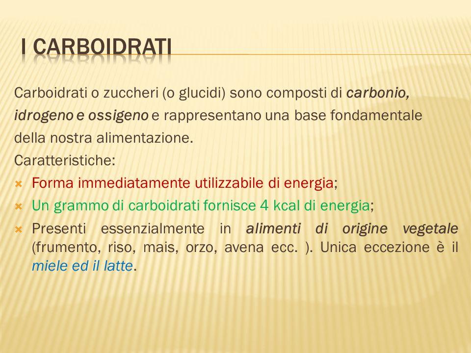 I carboidrati Carboidrati o zuccheri (o glucidi) sono composti di carbonio, idrogeno e ossigeno e rappresentano una base fondamentale.