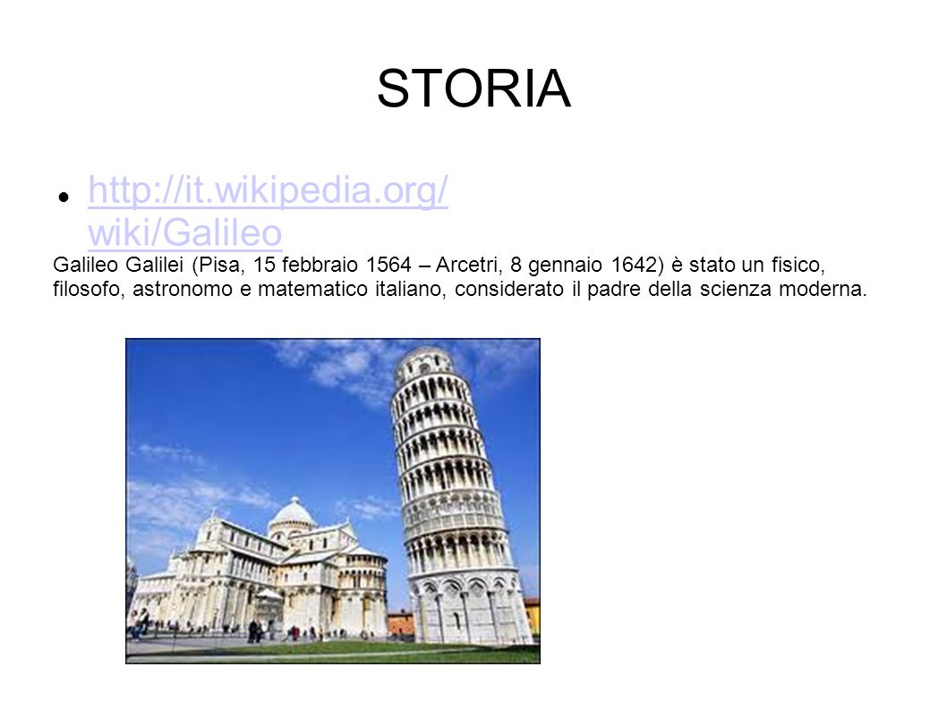 STORIA http://it.wikipedia.org/ wiki/Galileo