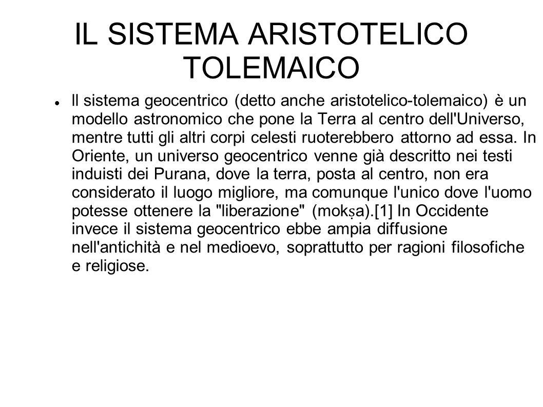 IL SISTEMA ARISTOTELICO TOLEMAICO