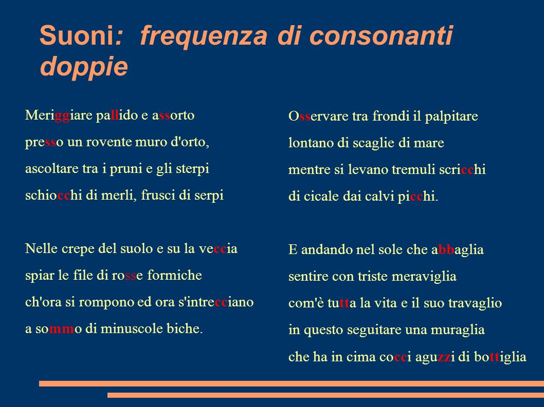 Suoni: frequenza di consonanti doppie