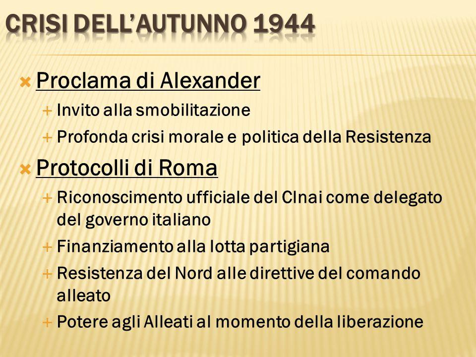 Crisi dell'autunno 1944 Proclama di Alexander Protocolli di Roma