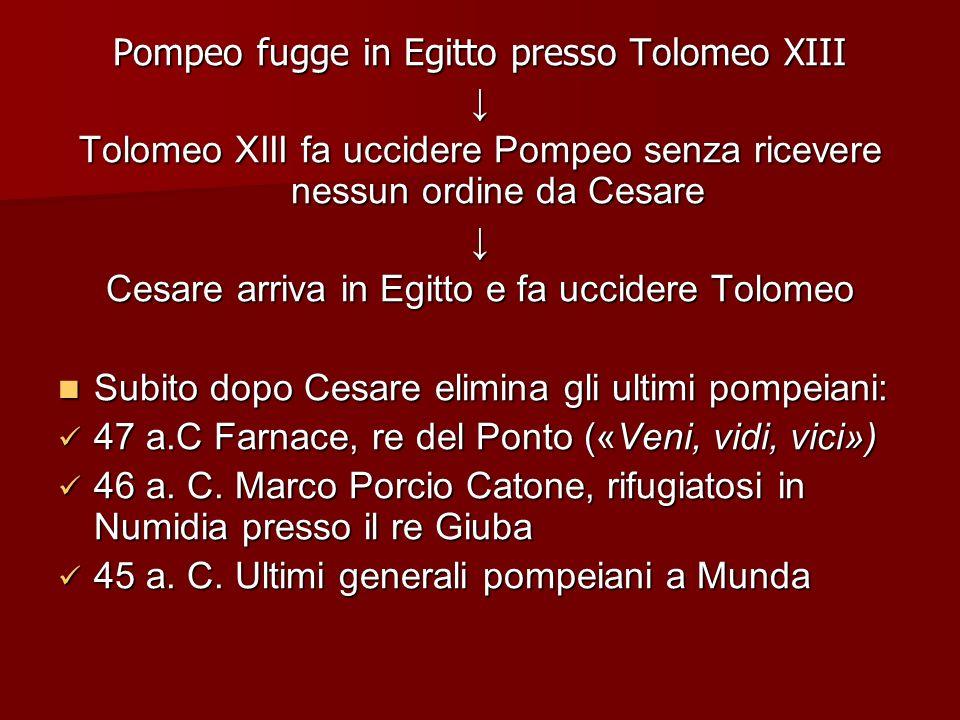 Pompeo fugge in Egitto presso Tolomeo XIII ↓