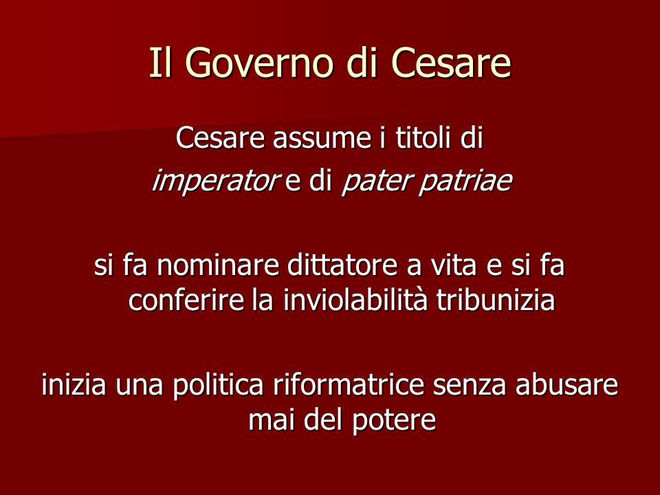 Il Governo di Cesare Cesare assume i titoli di
