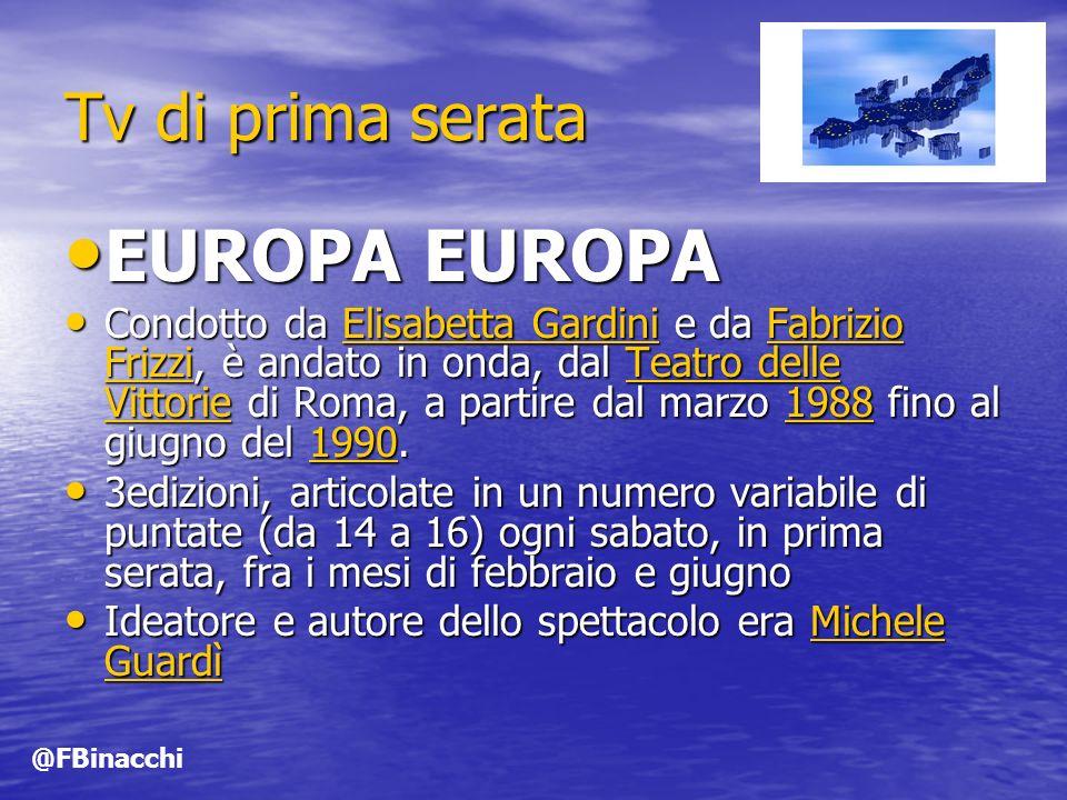 EUROPA EUROPA Tv di prima serata