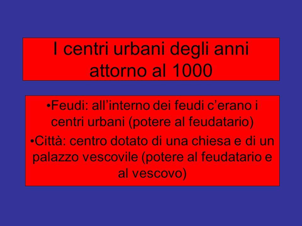 I centri urbani degli anni attorno al 1000