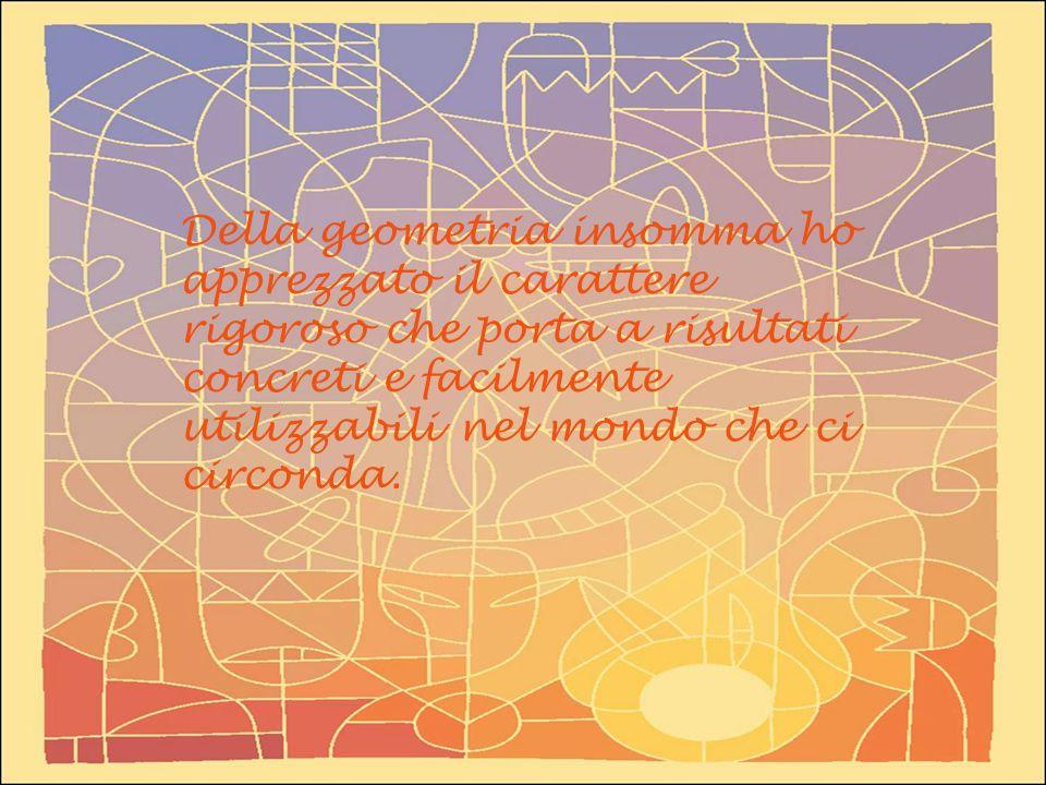 Della geometria insomma ho apprezzato il carattere rigoroso che porta a risultati concreti e facilmente utilizzabili nel mondo che ci circonda.