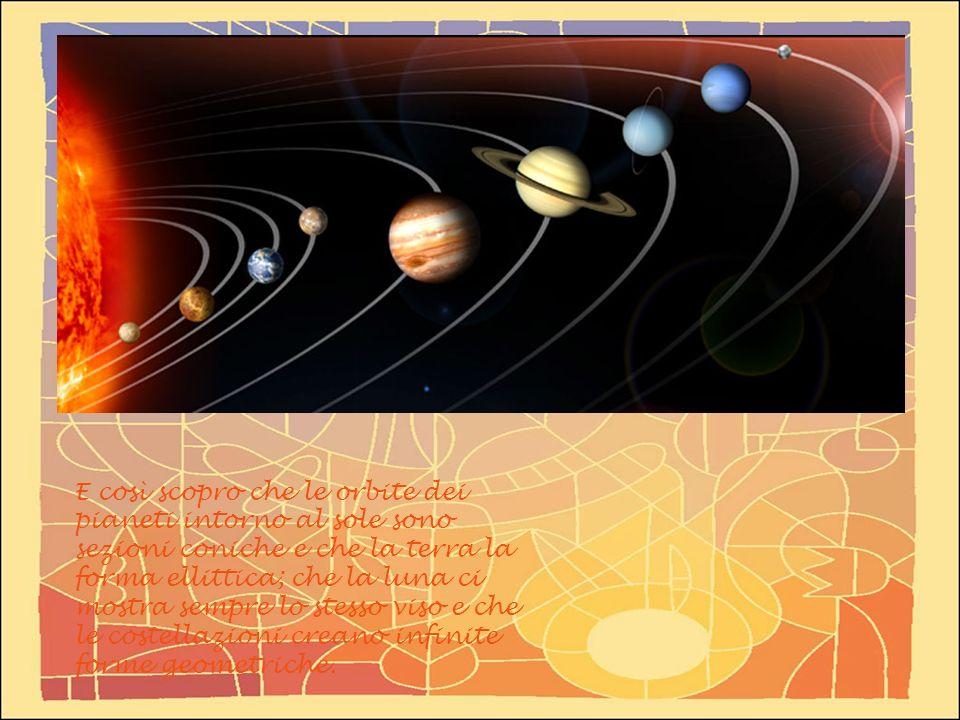 E così scopro che le orbite dei pianeti intorno al sole sono sezioni coniche e che la terra la forma ellittica; che la luna ci mostra sempre lo stesso viso e che le costellazioni creano infinite forme geometriche.