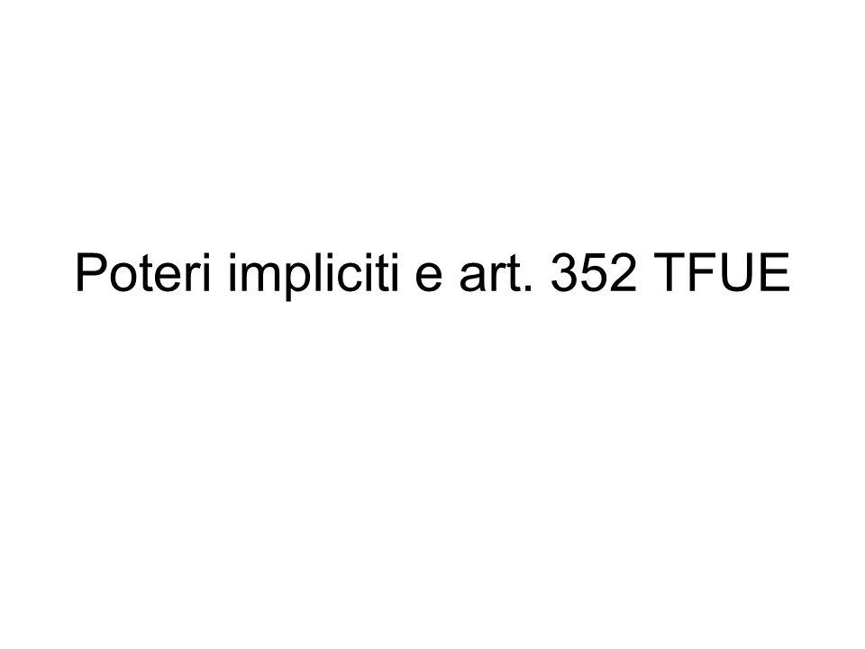 Poteri impliciti e art. 352 TFUE