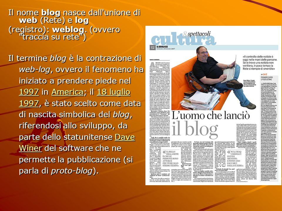 Il nome blog nasce dall unione di web (Rete) e log