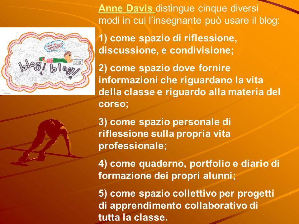 Anne Davis distingue cinque diversi modi in cui l'insegnante può usare il blog: