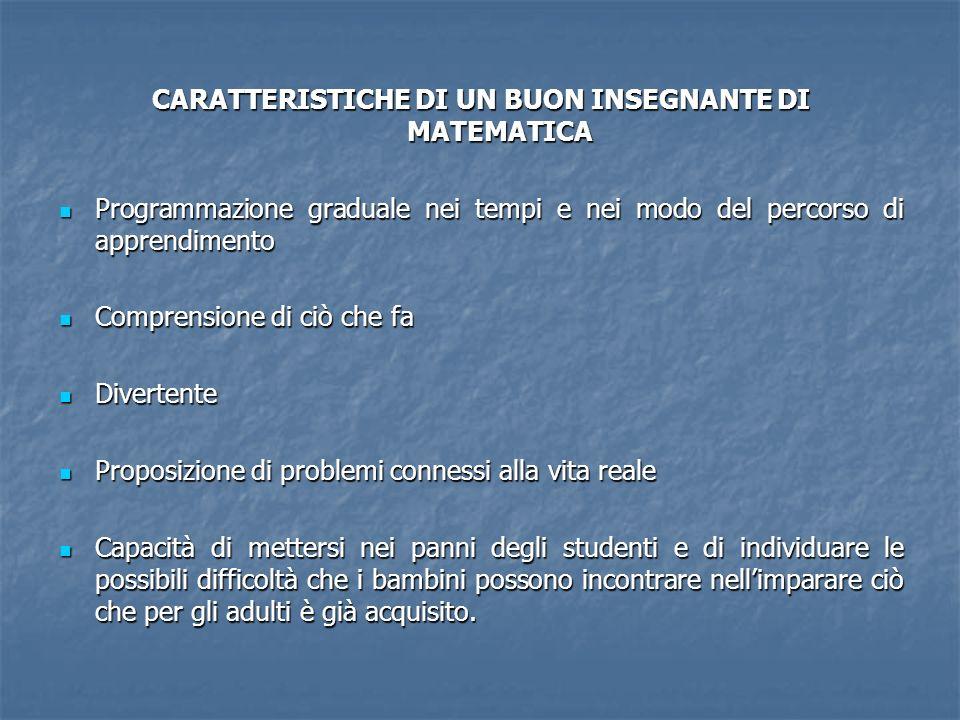 CARATTERISTICHE DI UN BUON INSEGNANTE DI MATEMATICA