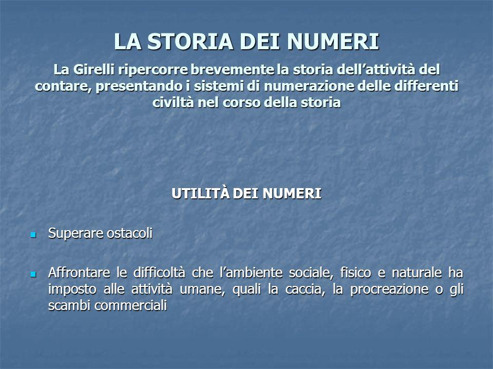 LA STORIA DEI NUMERI La Girelli ripercorre brevemente la storia dell'attività del contare, presentando i sistemi di numerazione delle differenti civiltà nel corso della storia
