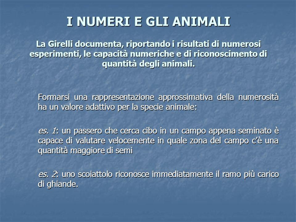 I NUMERI E GLI ANIMALI La Girelli documenta, riportando i risultati di numerosi esperimenti, le capacità numeriche e di riconoscimento di quantità degli animali.