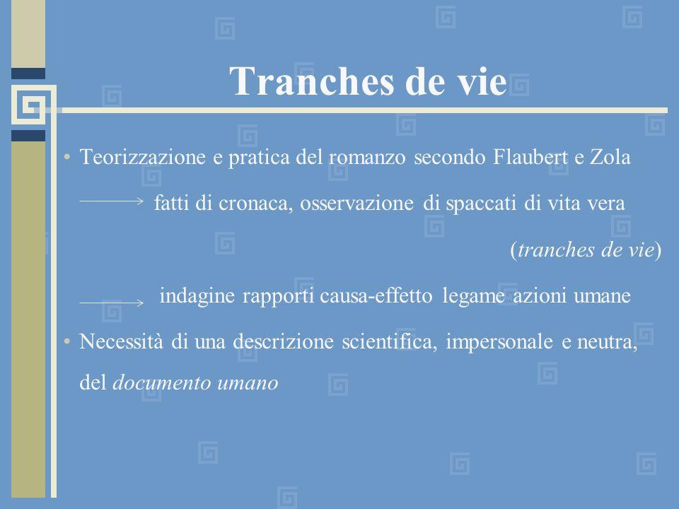 Tranches de vie Teorizzazione e pratica del romanzo secondo Flaubert e Zola. fatti di cronaca, osservazione di spaccati di vita vera.
