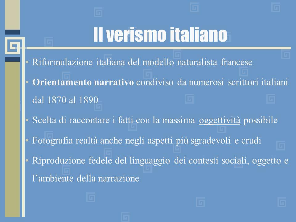 Il verismo italiano Riformulazione italiana del modello naturalista francese.
