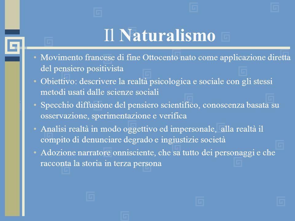 Il Naturalismo Movimento francese di fine Ottocento nato come applicazione diretta del pensiero positivista.
