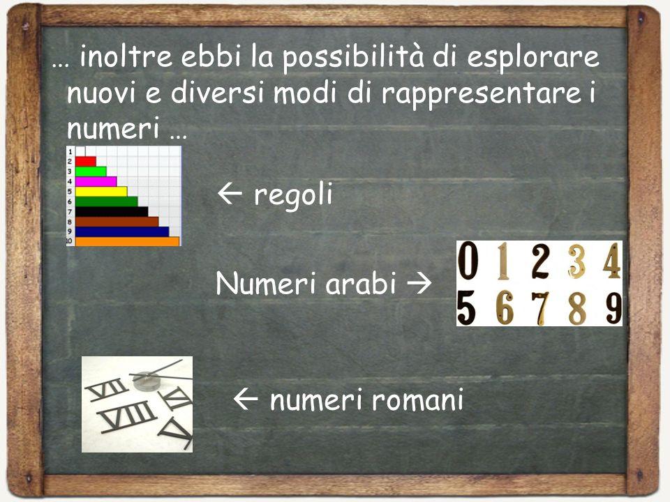 … inoltre ebbi la possibilità di esplorare nuovi e diversi modi di rappresentare i numeri …